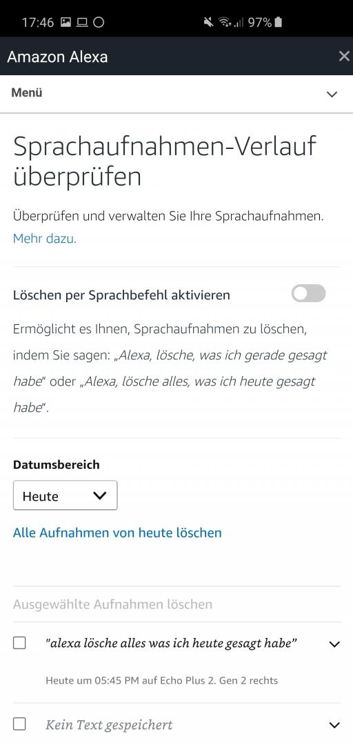 Alexa Sprachaufzeichungen löschen 3