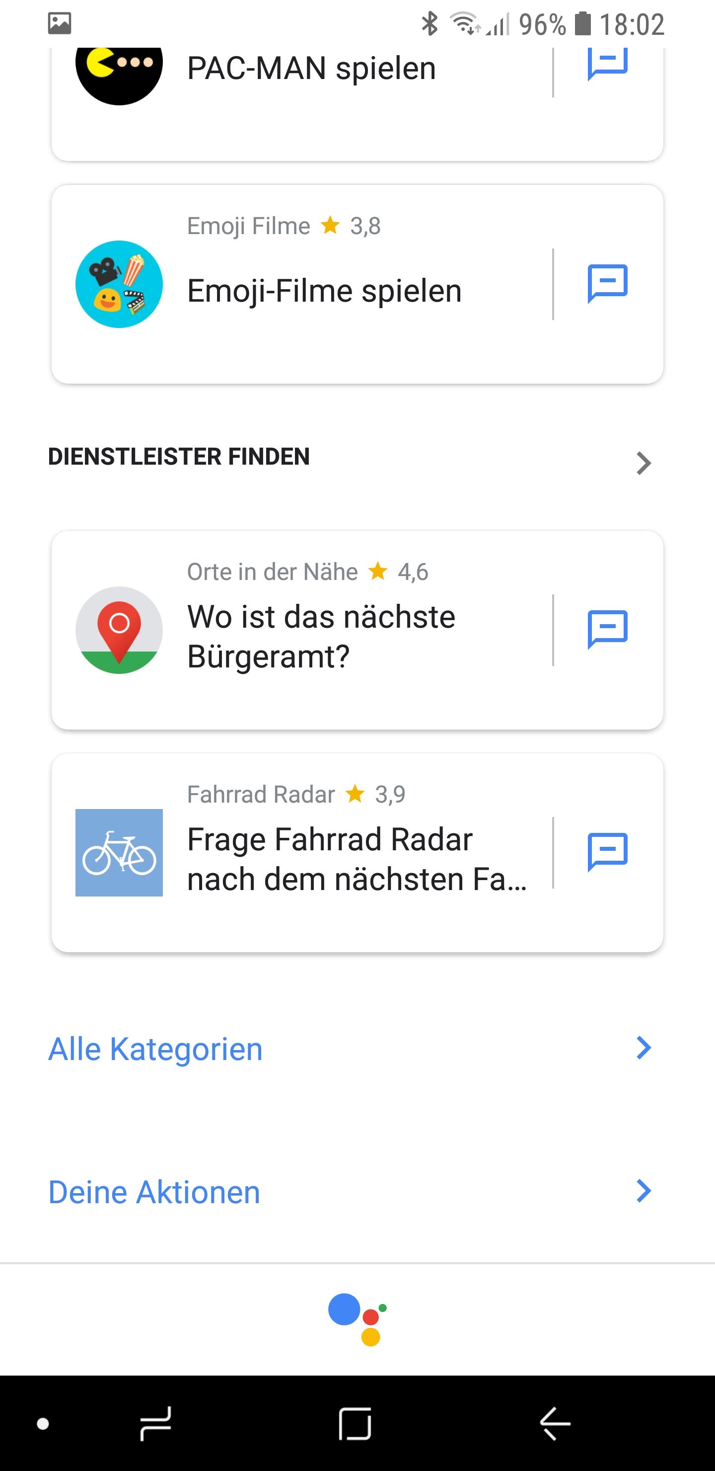 Google Actions Übersicht aufgelistet 03