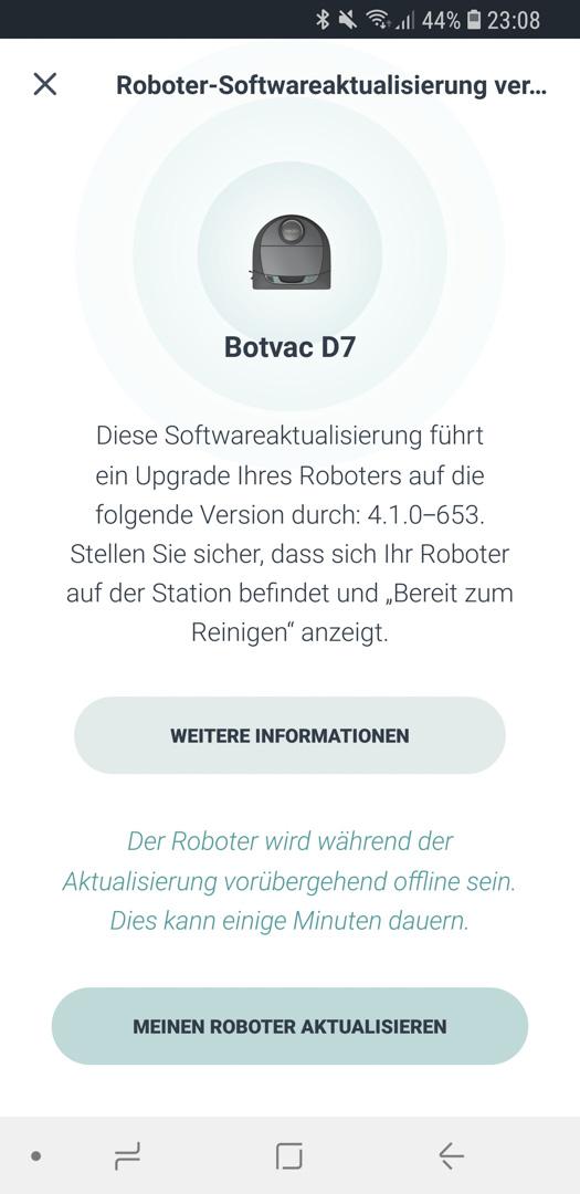 Neato Botvac D7 App Roboter Update 02