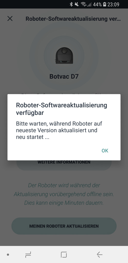 Neato Botvac D7 App Roboter Update 03