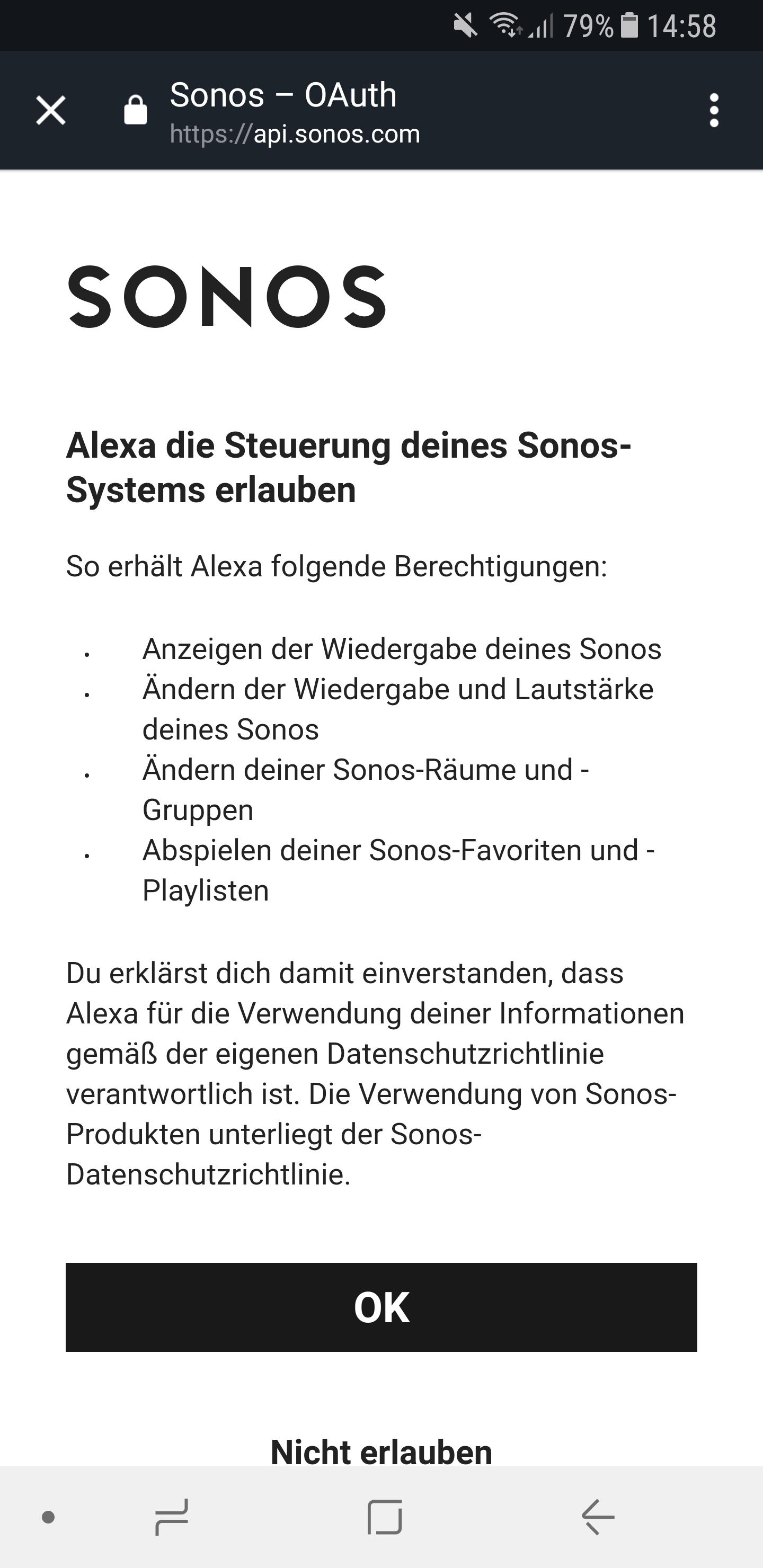 Sonos Skill einrichten 5