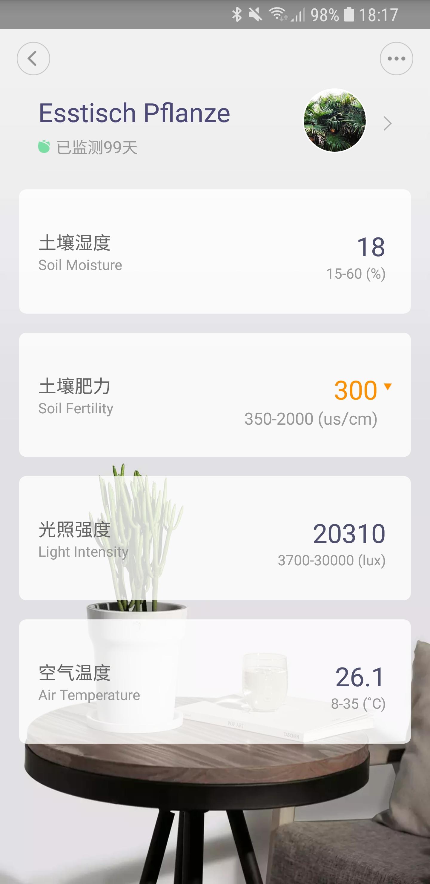 Mi Home Flower Care Feuchtigkeitssensor App 02