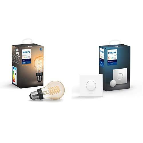 Philips Hue White Filament E27 LED Lampe, dimmbar, warmweißes Licht,...