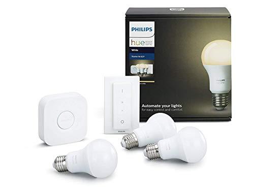 Philips Hue White E27 LED Lampe Starter Set, drei Lampen inkl. Bridge...