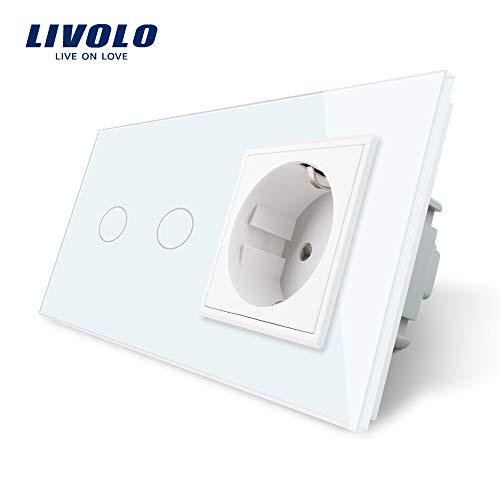 LIVOLO Weiss Lichtschalter mit Steckdose 1 Gang Wandsteckdosen mit LED...