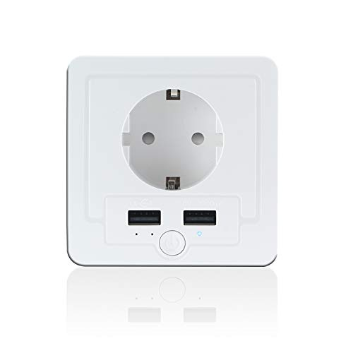 Intelligente Schuko Steckdose mit 2 X USB, Teepao Smart WLAN Steckdose...