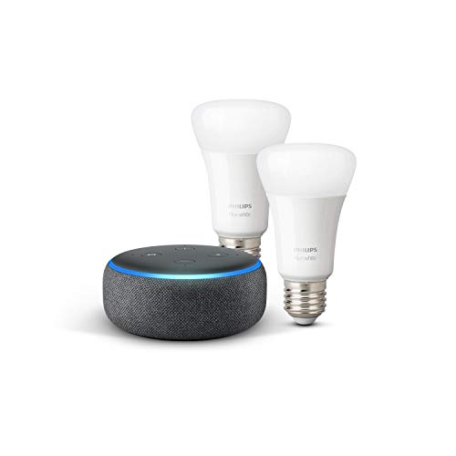 Echo Dot (3. Gen.), Anthrazit Stoff + Philips Hue White LED-Lampe...