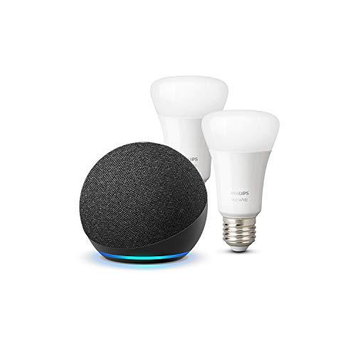 Echo Dot (4. Generation), Anthrazit + Philips Hue White LED-Lampe...