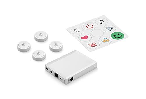 Flic 2 Starter-Kit: Vier Smart Buttons + Flic Hub LR, für Smart Home...