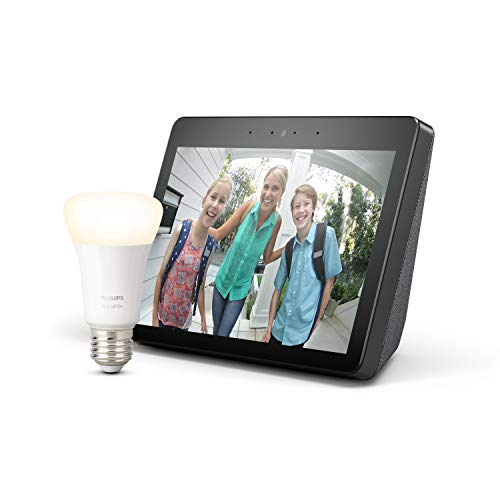 Echo Show (2. Gen.), Schwarz + Philips Hue White LED-Lampe