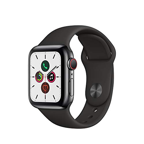 Apple Watch Series 5 (GPS+Cellular, 40 mm) Edelstahlgehäuse Space...