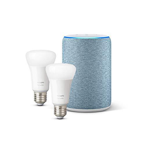 Amazon Echo (3. Gen.), Dunkelblau Stoff + Philips Hue White LED-Lampe...