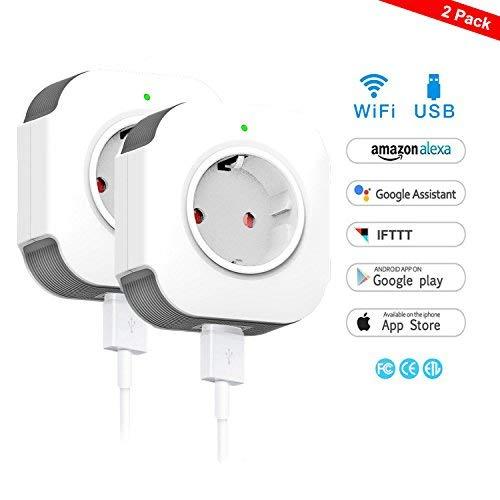 WiFi Smart Steckdose,WLAN Smart Plug Kompatibel mit Alexa und Google...