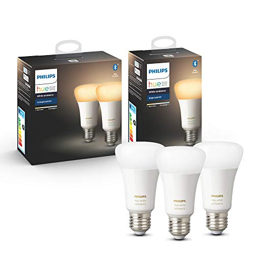 Philips Hue White Ambiance E27 LED Lampe 3-er Pack, dimmbar, alle...