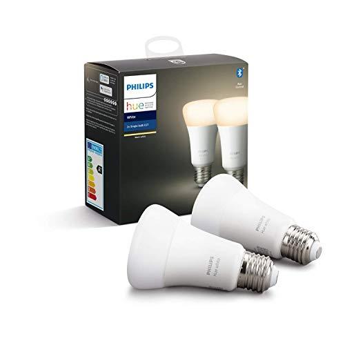 Philips Hue White E27 LED Lampe Doppelpack, dimmbar, warmweißes...