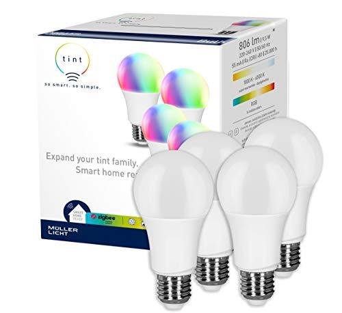 tint von Müller-Licht 4er-Set Smarte LED Lampen E27 Birnenform,...