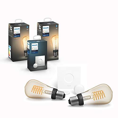 Philips Hue White Filament E27 LED Kolben 2-er Pack inkl. Hue Smart...