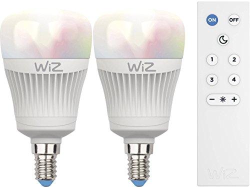 2-Pack Smartes LED-Leuchtmittel von WiZ; Kolbenform A mit WiZmote,...
