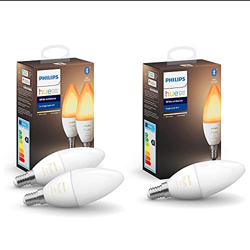 Philips Hue White Ambiance E14 LED Lampe 3er-Pack, dimmbar, alle...