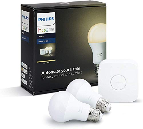 Philips Hue White E27 LED Lampe Starter Set, zwei Lampen inkl. Bridge,...