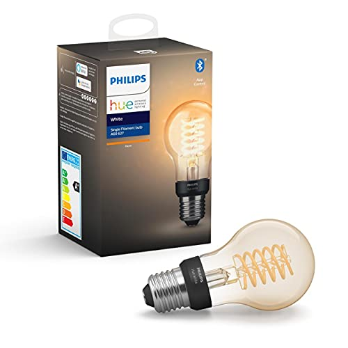 Philips Hue White Filament E27 LED Lampe, dimmbar, warmweißes Licht,...