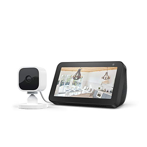 Echo Show 5, Schwarz + Blink Mini Kamera, funktioniert mit Alexa