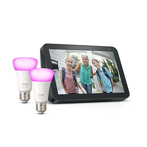 Echo Show 8, Anthrazit Stoff + Philips Hue Color LED-Lampe Doppelpack...