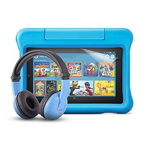 Fire 7 Kids-Tablet (blaue kindgerechte Hülle) + BuddyPhones...