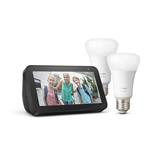Echo Show 5, Schwarz + Philips Hue White LED-Lampe Doppelpack (E27),...