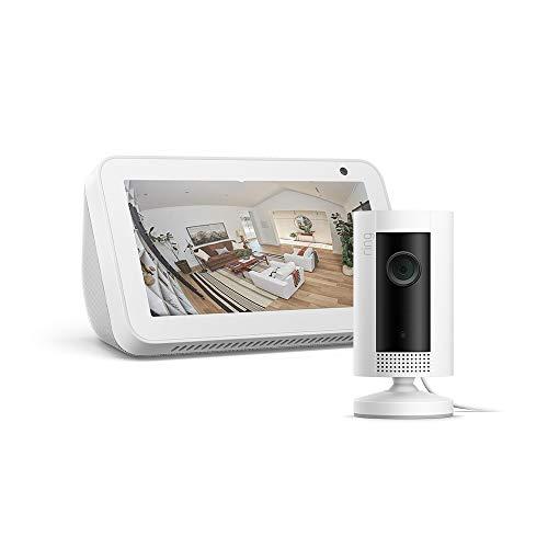 Echo Show 5, Weiß, Ring Indoor Cam, funktioniert mit Alexa