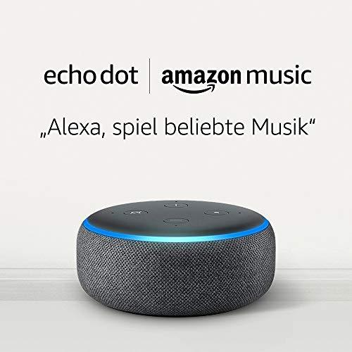 Echo Dot (3rd Gen), Anthrazit Stoff + 1 Monat Amazon Music Unlimited...