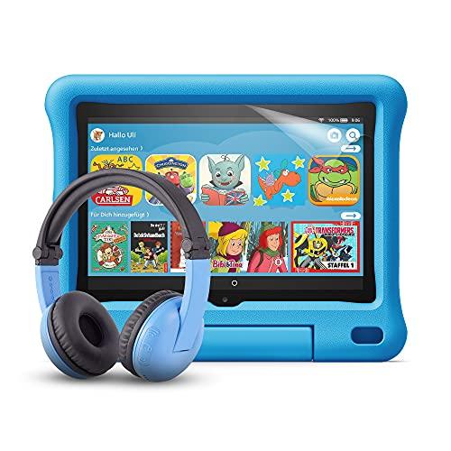 Fire HD 8 Kids-Tablet (blaue kindgerechte Hülle) + BuddyPhones...