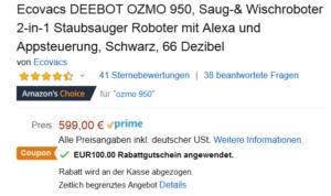 Deebot Ozmo 950 100 Euro Rabatt