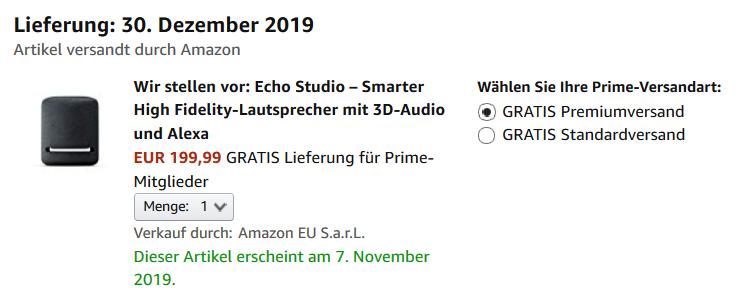 Echo Studio Verfügbarkeit