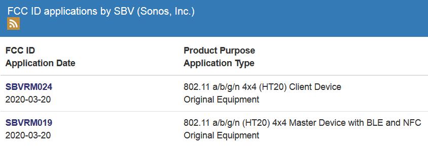 Sonos FCC