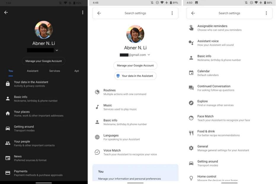Google Assistant Einstellungen