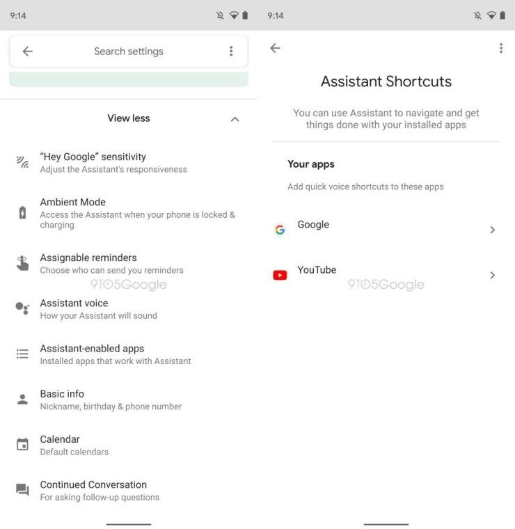 Assistant Shortcuts