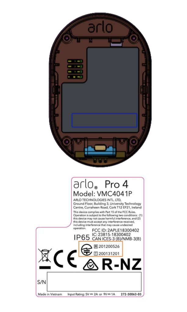 Arlo Pro 4 FCC Label