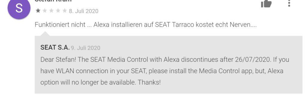 Kommentar Alexa Seat Media Control App Android