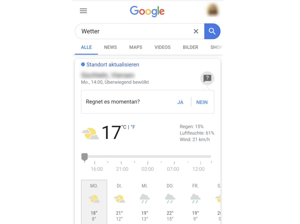 Google Wetter Frage