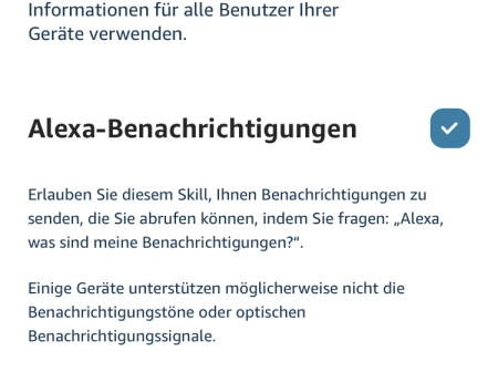 Skill Briefkasten Benachrichtigungen - Alexa Benachrichtigungen erlauben