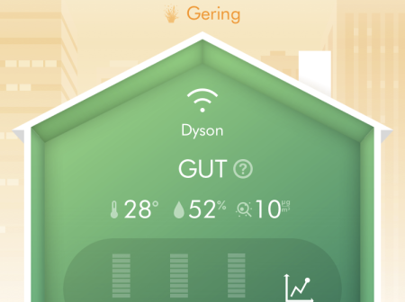 Dyson App Startseite Übersicht Luftqualität