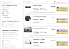 Saugroboter Finder: Update bringt tabellarische Ansicht