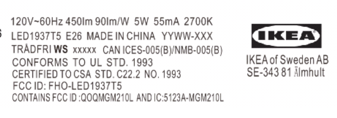 Ikea Tradfri FCC Label