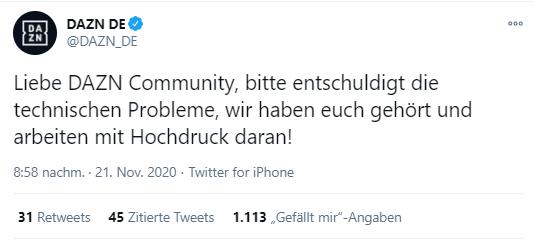 Tweet von DAZN über Kenntnis der Probleme