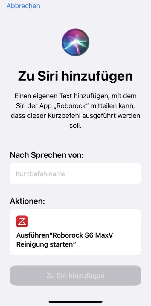 Roborock App Siri