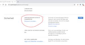Apple Anwendungsspezifische Passwörter erstellen