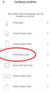 Meross App Schreibtischlampe