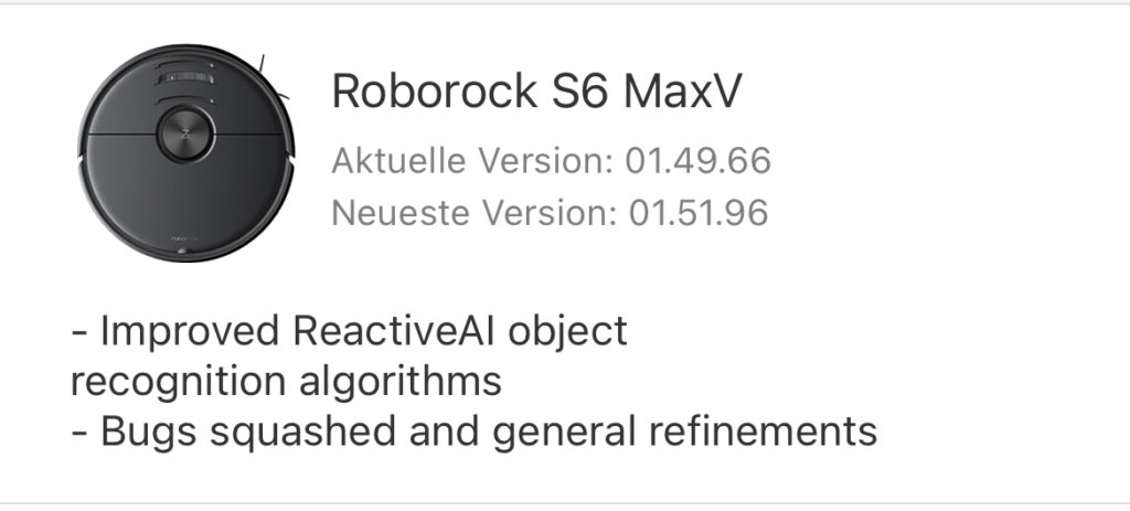 Roborock S6 MaxV Update
