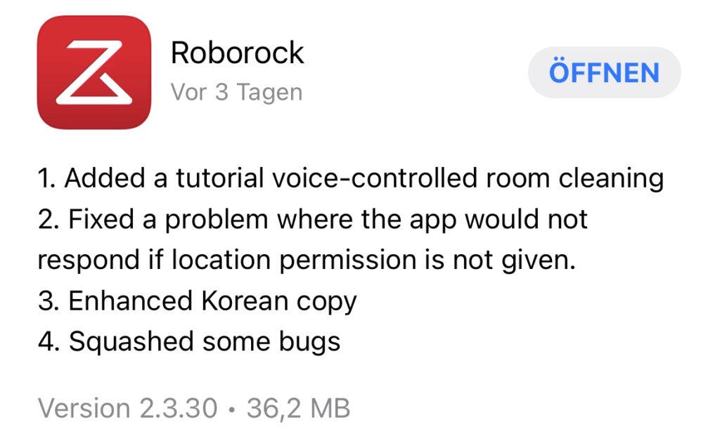 Roborock App Update